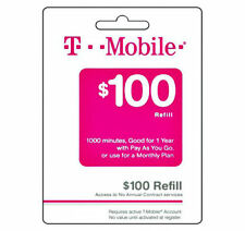 T-MOBILE REFILL CARD $100.00 DIRECT TO UR PHONE