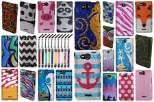 For LG Lucid 4G VS840 Colorful Designs Snap On Hard Cover Case + Crystal Pen