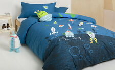KAS Kids Alien Space Rocket Single Double Quilt Duvet Cover & Plush Cushion Set