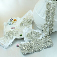 Wedding Bridal Dress Bead Crystal Belt Sash Rhinestone Waistband Hair Accessory