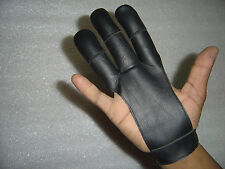 ARCHERS LEATHER SHOOTING 3 FINGERS GLOVE BLACK