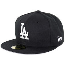 "New Era 59Fifty Los Angeles LA Dodgers ""BK WH"" Fitted Hat (Black/White) Mens Cap"