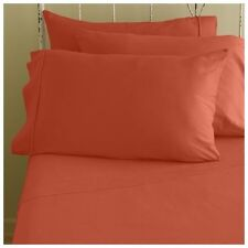 "1000 Thread Count Orange Solid 24"" Inches Deep Pocket Sheet Set 4PCs 100% Cotton"
