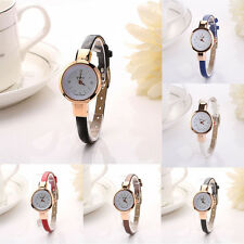 Fashion Women Dress Watch Round Analog Quartz Wristwatch Leather Bracelet Watch