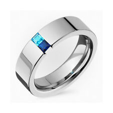 New Mens Titanium Sapphire Tension Set Promis Wedding Band Polish Finished Ring