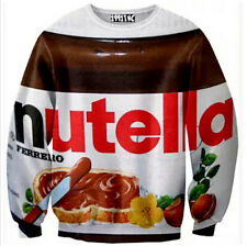 New Mens Womens 3D Printed Nutella Sweatshirt sweater Pullover Top Jumper
