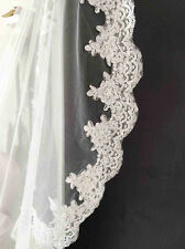 Bridal wedding cathedral tulle lace veil with pearl without comb white/ivory 3m