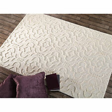 Modern Moroccan 3D Effect Carpet Rug with Thick Wool Pile in Natural Cream
