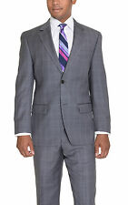 Michael Kors Modern Fit Gray Plaid Two Button Wool Suit