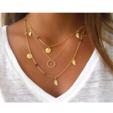 Multi-Layer Tassels Chain Leaf Glass Crystal Disc Coin Pendants Necklace Choker