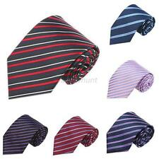 New Classic Stripes Skinny Jacquard Woven Silk Men's Tie Necktie Wedding Party