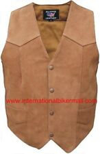 Allstate Leather Men's Brown Buffalo Leather Motorcycle Vest-AL2216