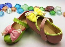 Toddler Baby Girl Shoes kids shoes Mary Jane flats dress velcro bow pink green