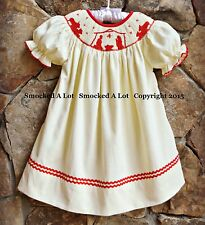 Smocked A Lot Girls Bishop Dress Christmas Nativity Scene Cream Red Corduroy