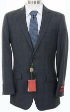Men's Charcoal Gray Plaid Two Button Wrinkle Resistant Super 140's Wool Suit