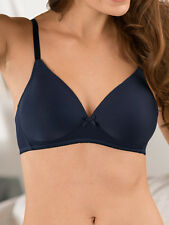 Naturana Soft Cup Padded Bra 5166 Non Wired T Shirt Bra Dark Blue BNWT