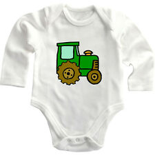 Green Brown Farm Tractor Long Sleeve Baby Bodysuit One Piece