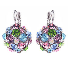 Women Unique Design Colorful Zircon Silver Tone Eardrop Leverback Earrings