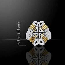 Braided Irish Celtic Cross Silver & 18K Gold Accents Ring