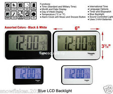 alarm clock lcd backlight snooze music month day temperature new