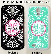 PERSONALIZED BLACK MINT DAMASK MONOGRAM CASE For Samsung Galaxy S8 S7 S6 NOTE 5