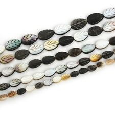 Carved Leaf Natural Black Mother of Pearl Shell Beads for Jewelry Making 15""