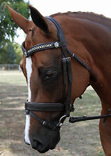 New Havana Leather S/S Chain Snaffle Horse Bridle with Reins Pony to WB sizes