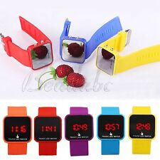 Women Men Mirror Touch LED Date Time Sport Watches Silicone Digital Wrist Watch