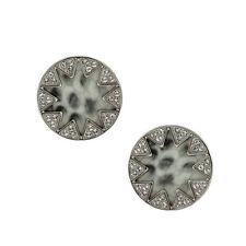 House of Harlow 1960 by Leather Sunburst Stud Earrings with Pave Stones BNWT