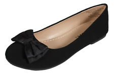 Jessie-2! Soda Kid's Girly Slip-On Ballet Flats Bow in Black Nubuck Faux Suede
