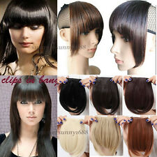 NEW short neat bangs Clip on Front Neat Bang Fringe clip in Hair Extensions sm15