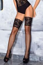 AXAMI BLACK Sexy THIGH HIGH Lace Fishnet Stockings Designer Hosiery STAY UP