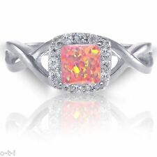 Infinity Celtic Princess / Cushion Cut Pink Fire Opal & CZ Sterling Silver Ring