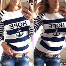 Women Crewneck Long Sleeve Print Pullover Outwear Jumper Loose Sweater Tops 6-14