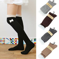 Women Stockings Lace Knot Knit Over Knee Boot Cotton Thigh High Socks Leg Warmer