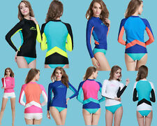 New Women Rash guard Long Sleeve Sun Shirts UV Surf Swim Top Lycra Swimwear Top
