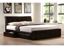 4FT, 4FT6 DOUBLE 5FT KINGSIZE 6FT FAUX LEATHER BLACK BROWN 4 DRAWER STORAGE BED
