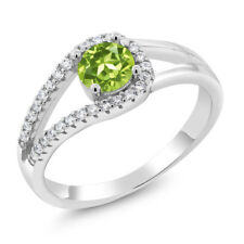 0.95 Ct Round Green Peridot 925 Sterling Silver Ring