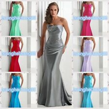 New Hot Long Satin Bridesmaid Formal Gown Ball Party Cocktail Evening Prom Dress