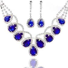 Graceful Bridal Wedding Necklace and Earring Sets Shinning Colors Crystal Drop