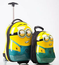 MINION EGG SHAPED KIDS CHILDRENS LUGGAGE SUITCASE TROLLEY PLUS BACKPACK