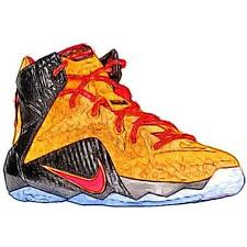 Nike LeBron 12 - Boys' Primary Sch. Basketball Shoes (Laser OR/GN Glow/BK)