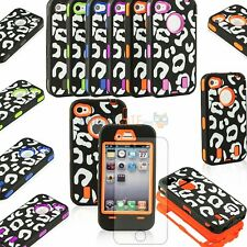 NEW Cheetah Hybrid High Impact Hard Soft Combo Case Cover For iPhone 4 4S +Film