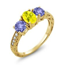 1.84 Ct Oval Canary Mystic Topaz Blue Tanzanite 18K Yellow Gold Ring
