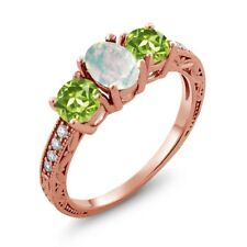 1.75 Ct Oval White Simulated Opal Green Peridot 18K Rose Gold Plated Silver Ring