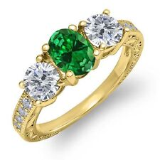 1.72 Ct Oval Green Simulated Emerald I/J Diamond 14K Yellow Gold Ring