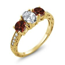 2.72 Ct Oval White Zirconia Red Garnet 18K Yellow Gold Plated Silver Ring