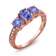 1.79 Ct Oval Blue Tanzanite 18K Rose Gold Ring
