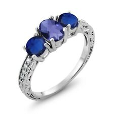 1.97 Ct Oval Checkerboard Blue Iolite Simulated Sapphire 18K White Gold Ring