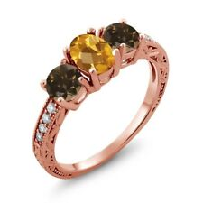 1.74 Ct Oval Checkerboard Yellow Citrine Brown Smoky Quartz 18K Rose Gold Ring